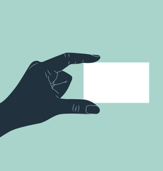hand showing blank business card vector image vector image