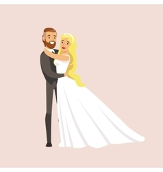 Newlyweds Hugging And Holding Each Other At The vector image