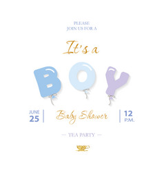 boy baby shower cute template party invitation vector image
