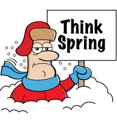 cartoon man buried in snow holding a think spring vector image