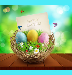 easter background with basket and eggs standing vector image