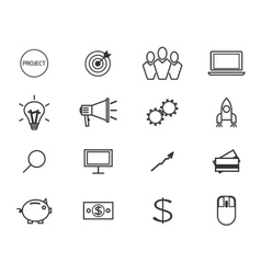 Flat line icons and logo set of crowdfunding vector image vector image
