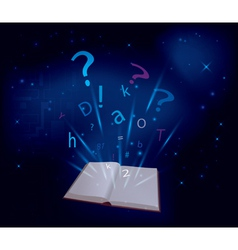 magic book on dark blue background vector image