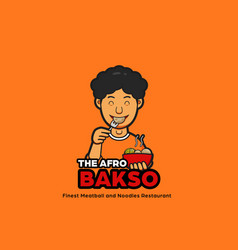 Afro bakso noodles logo mascot with male vector