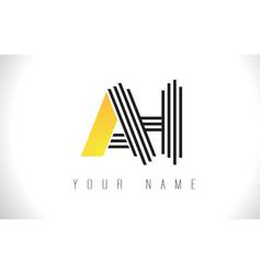 ah black lines letter logo creative line letters vector image