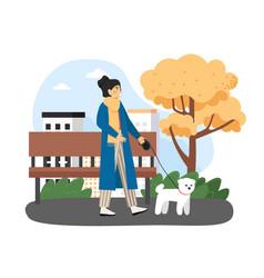 Autumn season happy woman walking with her pet vector