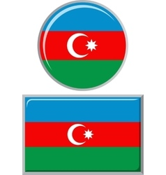 Azerbaijani round and square icon flag vector