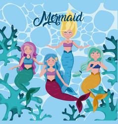 Beautiful mermaids cartoons vector