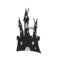 black silhouette gothic castle halloween party vector image