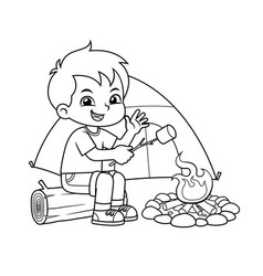 boy making campfire and baking marshmallow bw vector image