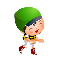 Boy wearing baseball outfit vector image