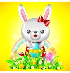 Bunny with Easter eggs vector image