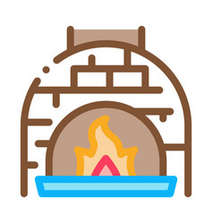 burn flame oven icon outline vector image
