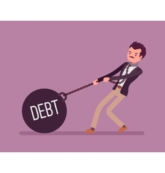 Businessman dragging a weight Debt on chain vector