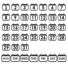 calendar day icon set number on calendar page vector image