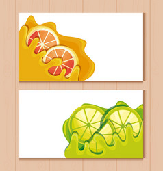 cards and fresh oranges with lemons sliced fruit vector image
