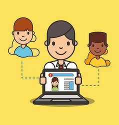 Cartoon boy with laptop website girl on screen vector