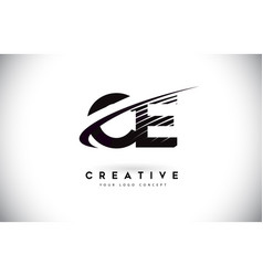 Ce c e letter logo design with swoosh and black vector