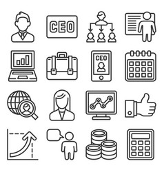ceo and business management icons set line style vector image