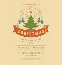 christmas party invitation retro typography vector image