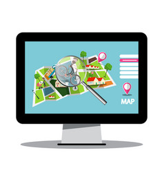 city map with magnifying glass on computer screen vector image