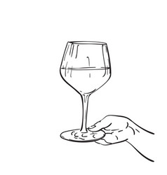 close up hand holding glass wine drawing hand vector image
