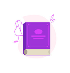 Closed paper book or diary with violet hardcover vector
