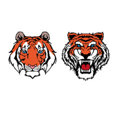 Collection tiger icons in pixel art style vector