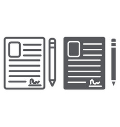 contact form line and glyph icon blank and vector image