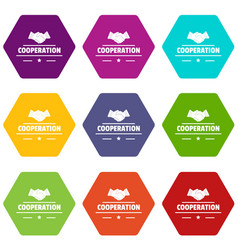 cooperation icons set 9 vector image