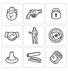 Crime and the slave trade icons set vector image