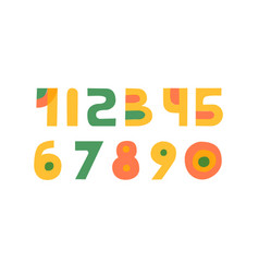 cute colorful handdrawn numbers set vector image