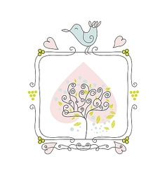 Cute fame with bird and tree vector image