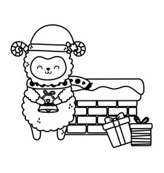 Cute sheep chimney with gifts snow merry christmas vector