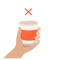 disposable cup - zero waste concept vector image