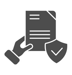 Document verified in hand solid icon checked vector