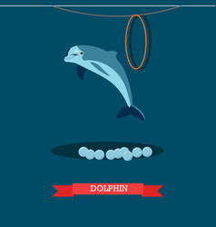 Dolphin show in flat style vector