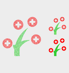 Dotted medical tree icons vector