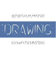 drawing brush font paintbrush alphabet typeface vector image