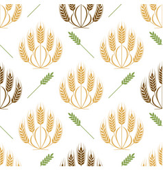 Ears of wheat and grains seamless pattern vector