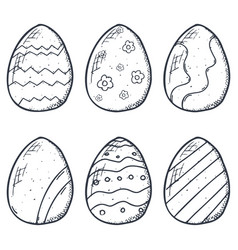 easter eggs icons collection in doodle style hand vector image