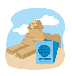 Egyptian ancient sphinx tourist vacation travel vector