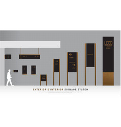 Exterior and interior signage wooden concept vector