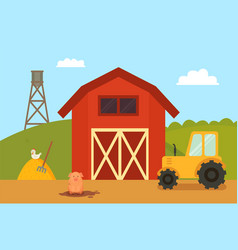 Farm building with animals vector