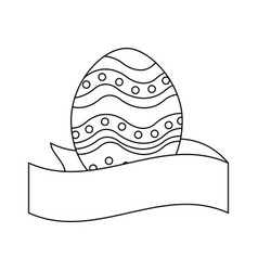 Figure cute easter egg with ribbon decoration vector
