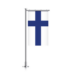 Flag finland hanging on a pole vector