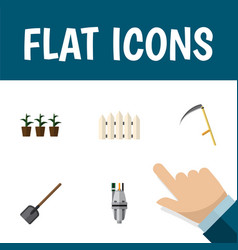 Flat icon garden set of flowerpot wooden barrier vector