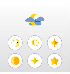 Flat icon night set of asterisk star midnight vector