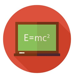 Flat Science and Education Chalkboard Circle Icon vector image