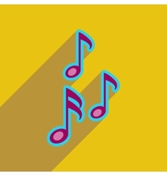 Flat web icon with long shadow musical notes vector